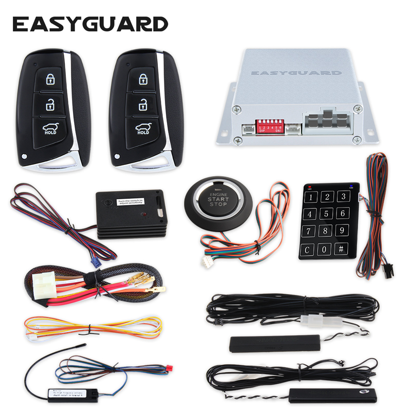 EASYGUARD Smart key PKE car alarm keyless entry Rolling code remote start starter push start button touch password keypad backup rolling code rfid pke car alarm system push button start stop remote engine start passive keyless entry smart password keypad