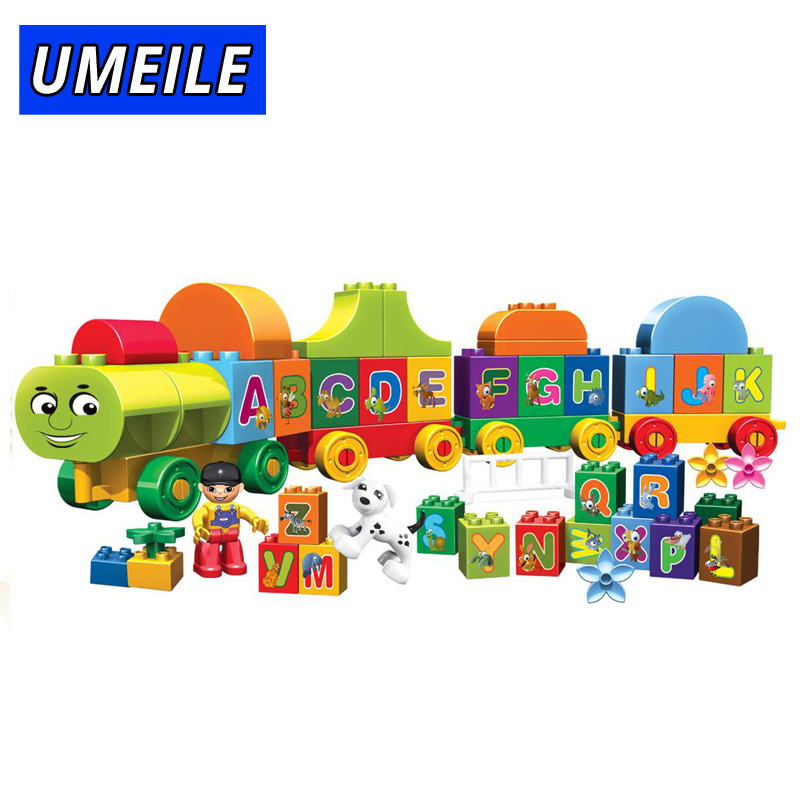 UMEILE City Train Block Brick 75PCS Building Block Friends Figure Educational Letter Baby Toys Compatible With Legoing Duplo letter print color block briefs