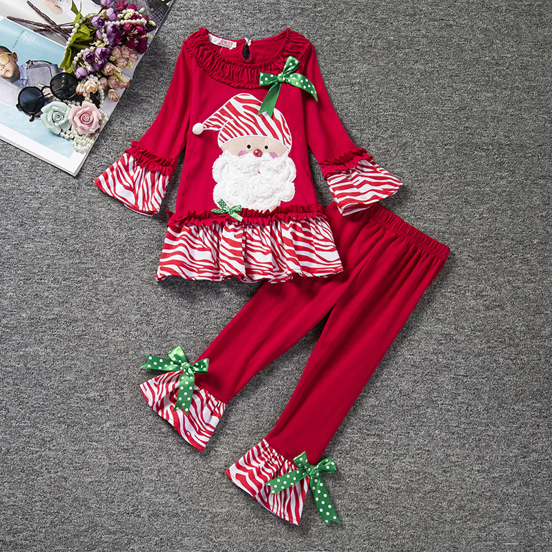 Fashion autumn girl ruffles boutique blouse and pants set kids christmas outfits pajamas