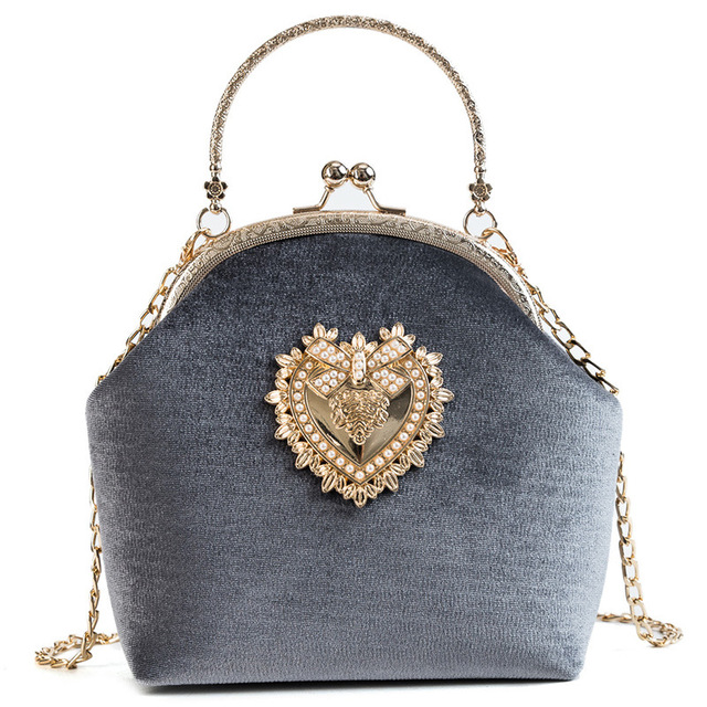 Velvet Pearl Handbag Vintage Heart Design Evening Purse
