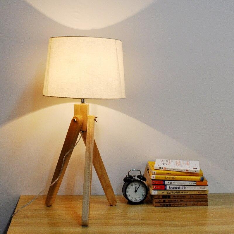 Современный минимализм краткое noridc дерево белье LED E27 настольная лампа FO Спальня Гостиная исследование глаз, защищенных Light 2251