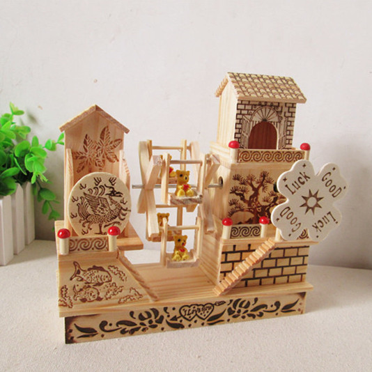 Fashion House Floor Wooden Windmill Music Box Garden Ornaments Crafts Home Decor Gift Ideas