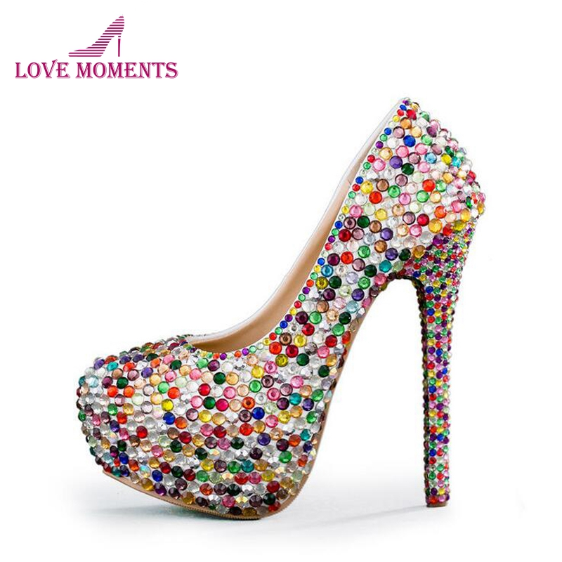 2018 Small Rhinestone Mix Color High Heel Party Shoes Wedding Ceremony Bridal Shoes Adult Ceremony Shoes Cinderella Prom Pumps cinderella high heels crystal wedding shoes 14cm thin heel rhinestone bridal shoes round toe formal occasion prom shoes