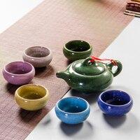 Red Robe Tea Cup Sets Ice Crack Glaze Teacup Porrtery Teaset 1 Tea Pot & 6 Tea Cups Chinese Kung Fu Teapot Set B028