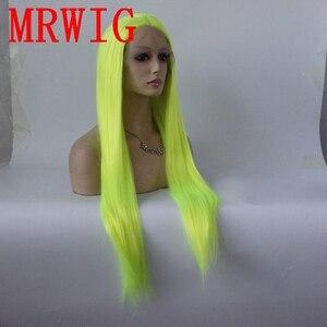 Image 2 - Mrwig prata verde longo reta sintético glueless peruca dianteira do laço parte média 26in real picturehair calor reasitant fibra estoque