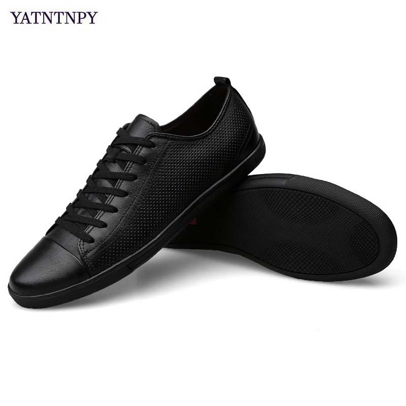 Noir black Blanc Split Plat Black white Chaussures Respirant Souple Full Yatntnpy Hollow Sneakers Cuir Grande Marque Homme Véritable white D'été Full En Taille Occasionnels Hollow Hommes qwvvZBax