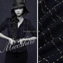 A / W deep blue marine de haute qualité mode vêtements tissu tissé or tissu de laine TWEED tissu pour vêtements
