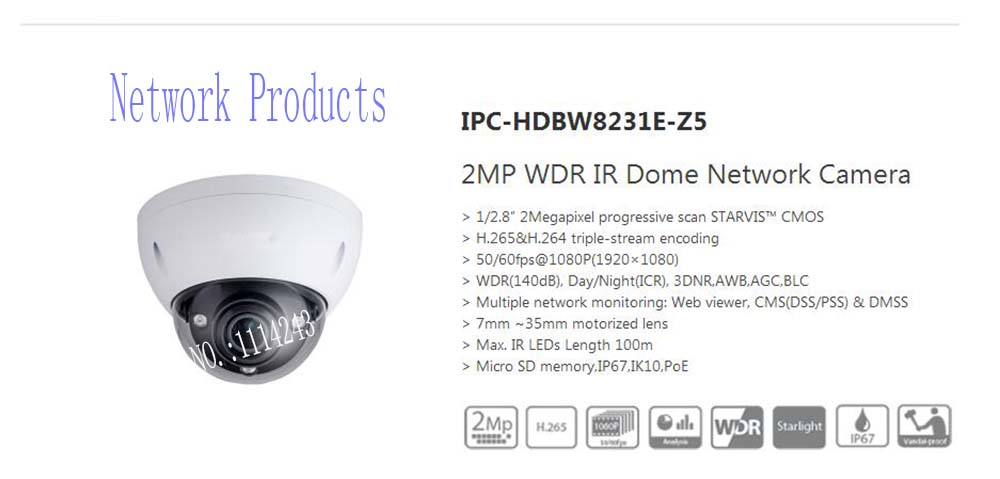 Free Shipping DAHUA Surveillance Camera 2MP WDR IR Dome Network Camera IP67 IK10 with POE without Logo IPC-HDBW8231E-Z5 free shipping dahua cctv camera 4k 8mp wdr ir mini bullet network camera ip67 with poe without logo ipc hfw4831e se