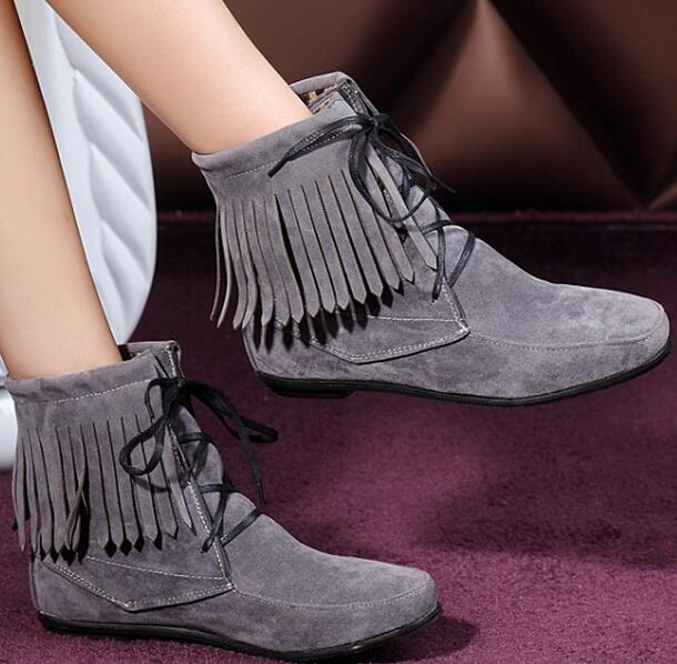 4c36a39beeb lace up ankle boots fashion women faux suede Tassel flat heel shoes autumn short  boots Black Red Yellow Gray