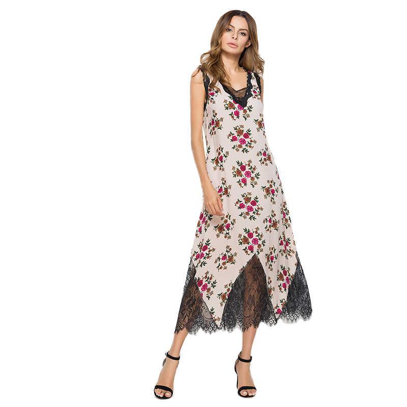 Кружевное платье Для женщин 2018 лето лоскутное кружевное платье с цветочным рисунком без рукавов Длинные вечерние платье Цветочный Пляж глубокий v-образным вырезом свободные Vestidos