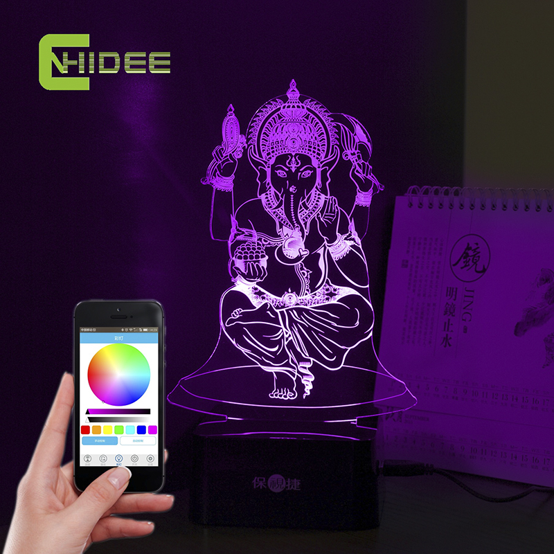 Ganesha 3D LED Music Night Light luz De Escritorio Desk Table Lamp Fairy Mission RGB Tafellamp Lampade Da Tavolo for Home Decor ...