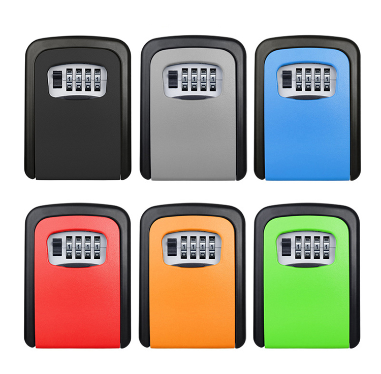 Key Safe Box Outdoor Digit Wall Mount Combination Password Lock Aluminum Alloy Material Keys Storage Box Security Safes
