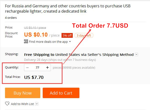 US $0 1 5% OFF|For Russia and Germany and other countries buyers to  purchase USB rechargeable lighter, created a dedicated link on  Aliexpress com |