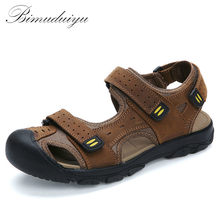 BIMUDUIYU Brand Summer  Genuine Leather Beach Sandals Casual Shoes Foot Toe Protect Men's Good Quality  Large Size  Rome's Shoes