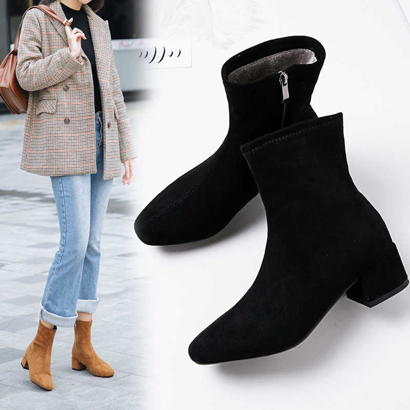ORATEE Women's Boots Pointed Toe Yarn Elastic Ankle Boots Thick Heel High Heels Shoes Woman Female Socks Boots 2020 Spring