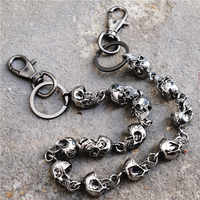 Men Jewelry Heavy Waist Biker Wallet Key Chain Rock Punk Skull Trousers Motorcyle Hiphop Dance Pant Jean Chains Metal Keychain