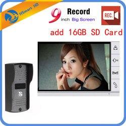 9 дюймов Большой экран + 16 Гб sd-карта видео запись домофон система Открытый водонепроницаемый домофон с камерой дверной Звонок