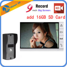 New 9 Inch Big Screen + 8GB SD Card Video Record Door Phone Intercom System Doorbell Camera bell