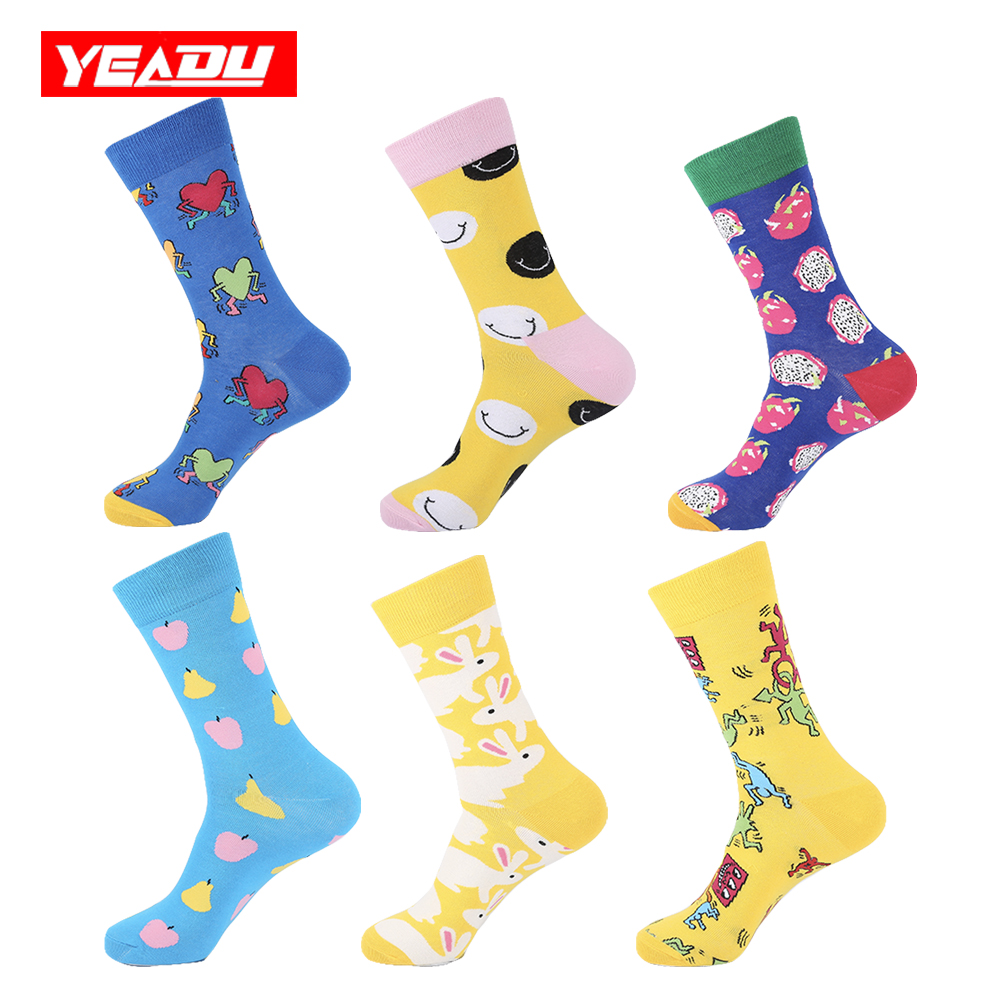 Underwear & Sleepwears Yeadu Colorful Men Art Socks Funny Happy Smile Rabbit Pitaya Apple Hip Hop Skateboard Socks For Men Wedding Birthday Gift With The Most Up-To-Date Equipment And Techniques