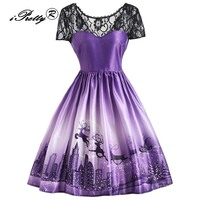 Christmas Theme Print Dress Women Vintage Lace Stitching Short Sleeve Party Mini Dress Swing Rockabilly Robe