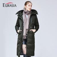 Евразии 2018 Новое поступление Дизайн бренд Для женщин зимнее пальто Длинная натуральной меховой воротник с капюшоном Плотные пуховики держ