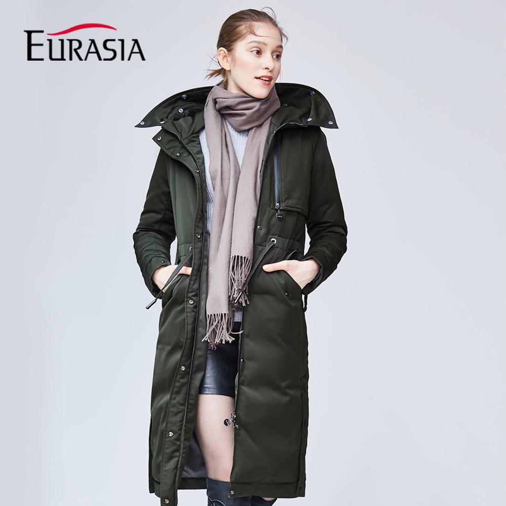 EURASIA 2018 New Arrival Design Brand Women Winter Coat Long Hat Real Fur Collar Hooded Thick   Parkas   Keep Warm Jacket YD1859