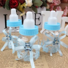 OurWarm 6Pcs Baby Shower Gift Box Plastic Bottle Candy Baptism Christening Brithday Party Favors Decorations