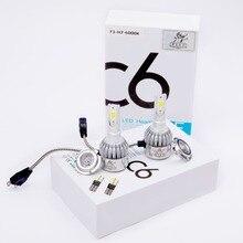 2Pcs H7 12V  72W 7200lm COB LED High Super bright white light Low Beam Headlight Bulbs Free shipping