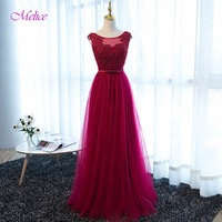 Dreagel New Design Scoop Appliques A Line Lace Evening Dress 2017 Hot Sale Beading Cap Sleeve