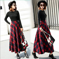 Women Autumn And Winter Thicken Skirt High Waist Plaid Female Long Skirt Woolen Saia Longa Autumn Skirt A2784