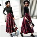 Women Autumn And Winter Thicken Skirt High Waist Plaid Female Long Skirt Woolen Saia Longa Autumn Skirt A2784