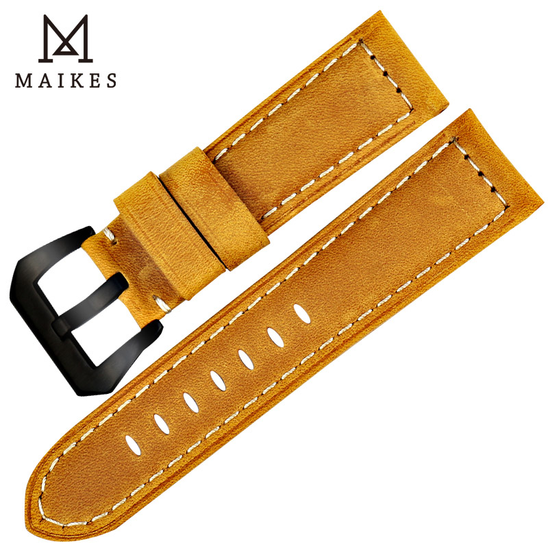 MAIKES Handmade 4 color Watch Band Accessories Black 316L Steel Buckle Genuine Leather 22mm - 26mm Watchband Wrist Watch Strap все цены
