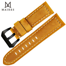 MAIKES Handmade 4 color Watch Band Accessories Black 316L Steel Buckle Genuine Leather 22mm - 26mm Watchband Wrist Strap
