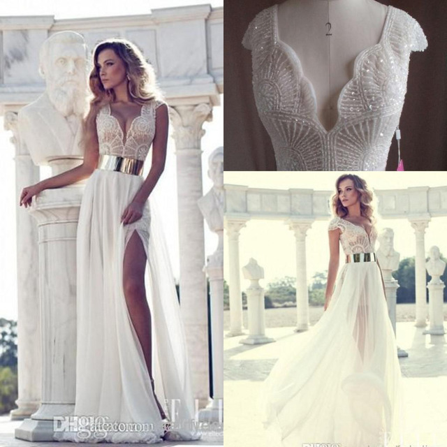 2015 Summer beach flow chiffon sheer wedding dresses cap sleeves ...