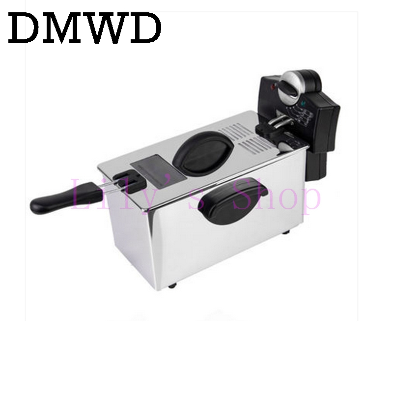 DMWD Electric deep fryer Stainless steel commercial electric fryer household chips Frying Pan French Fries making machine EU US 1pc gas type stainless steel food fryer french fryer potato fryer single cylinder double sieve fryer