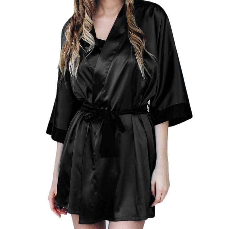 女性のセクシーな半透明パジャマセットフェイクシルク半袖ショート着物バスローブ無地ネグリジェと G ストリングサテンサッシ