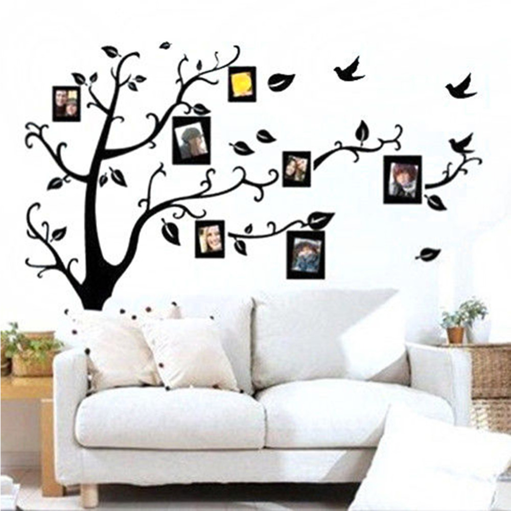 1Pc PVC Black DIY Photo Tree PVC Wall Decals Adhesive Family Wall Stickers  Mural Art Home Decor