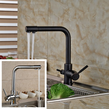 Двойной функции чистой воды кран кухня горячей и холодной воды, смесители Chrome нефть трущихся Бронзовый Отделка очистки