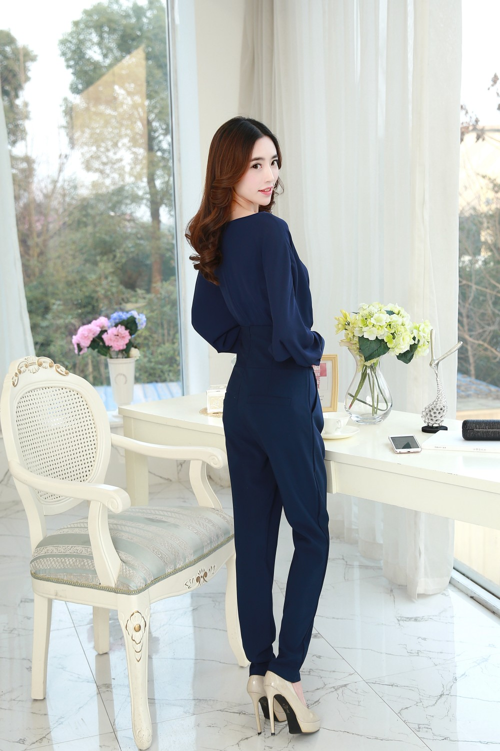 f011400a5600 2016 new style Spring and Autumn women solid chiffon jumpsuits