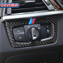 Углеродного волокна фар кнопки включения декора обложка внутренняя отделка стайлинга автомобилей Стикеры для BMW F30 F34 320i 3 серии аксессуары