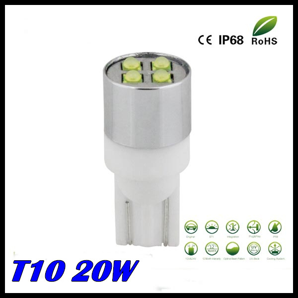 Free shipping 2pcs/lot t10 <font><b>led</b></font> light high power <font><b>led</b></font> Super Bright 20W CREE chips LAMP 194 <font><b>led</b></font> car,t10 light <font><b>w5w</b></font> <font><b>led</b></font> image