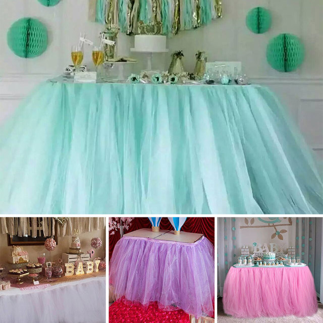 DIY Tablecloth Tulle Table Skirt Wedding Party Dinning Decor Props Elegant