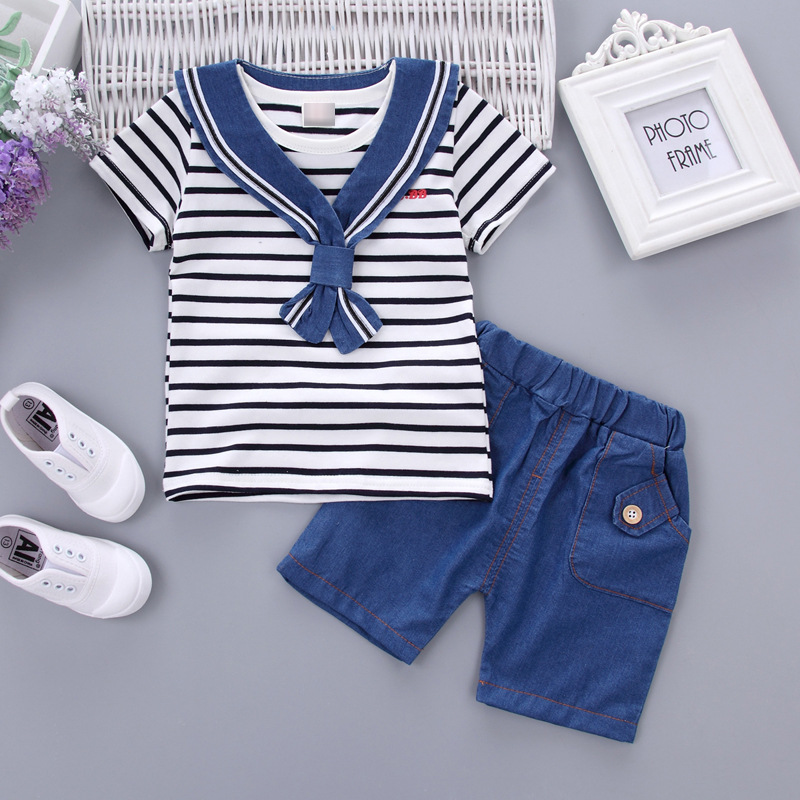 1-4Y Baby Clothing Set Sailor style Baby Suit Cotton Kids Clothing Stripe Short Sleeve + Pants + Cravat Infant Baby Boy Clothes