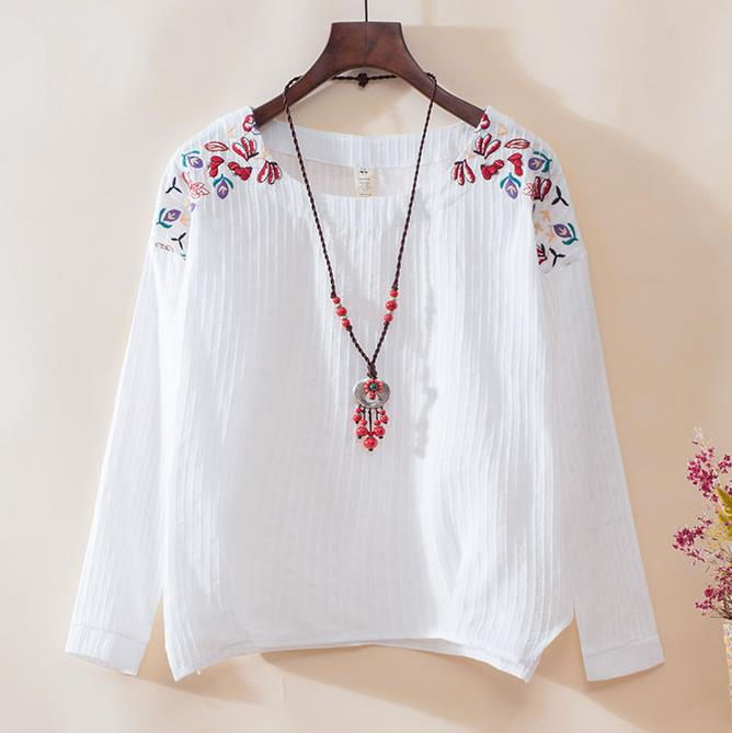 New womens tops and blouses 2019 Spring Summer vintage cotton linen chic embroidery blusas plus size Long sleeves women blouse blouse