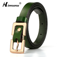 New Cowskin Genuine Leather Belt Gold Plating Alloy Pin Buckle Female Belts For Women Decoration Girdle
