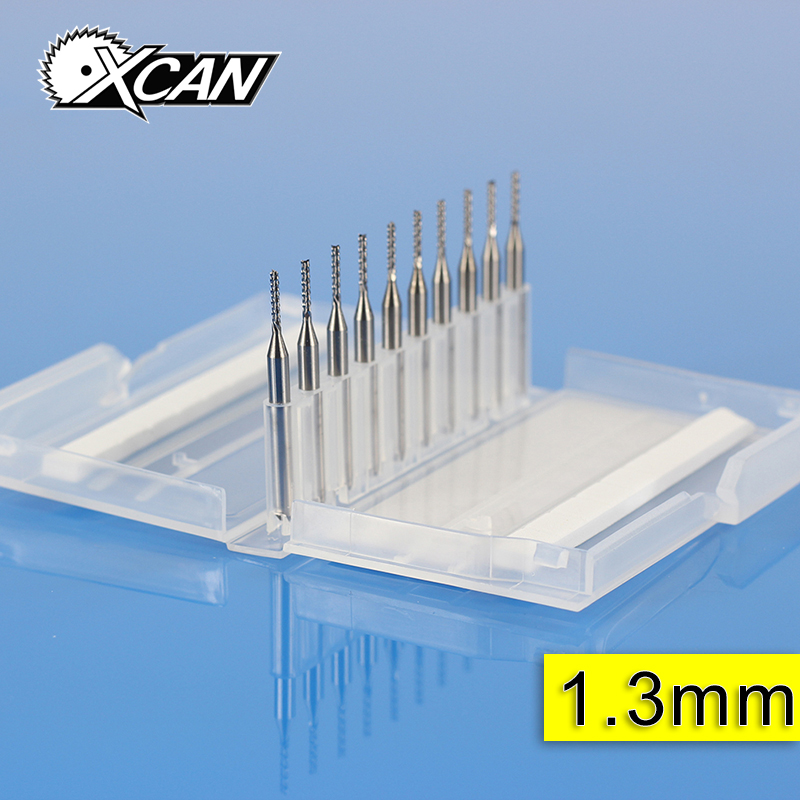 XCAN 10pcs CNC end milling cutter 1.3/1.4/1.5 carbide pcb drill bits end mills for CNC router 10pcs box 1 8 inch 0 8 3 17mm pcb engraving cutter rotary cnc end mill milling cuter drill bits