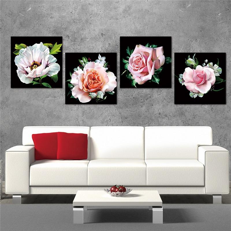 Lærredsmaleri Moderne kunst Oljemaling Modulær roseblomstbilleder - Indretning af hjemmet - Foto 2