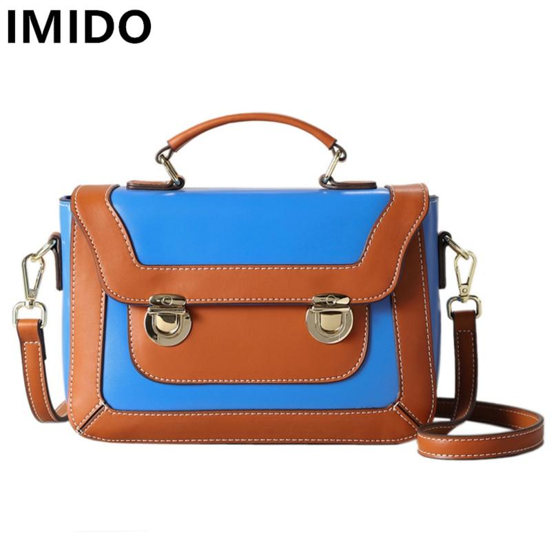 IMIDO Brand Designer Genuine Cow Split Leather Women Handbags Fashion Patchwork Women Handbags Girls Summer Messenger Bags
