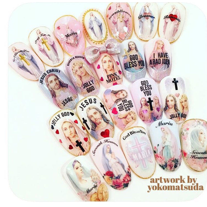3D Nails Art Sticker Colorful Madonna Maria Jesus Thanks Giving ...