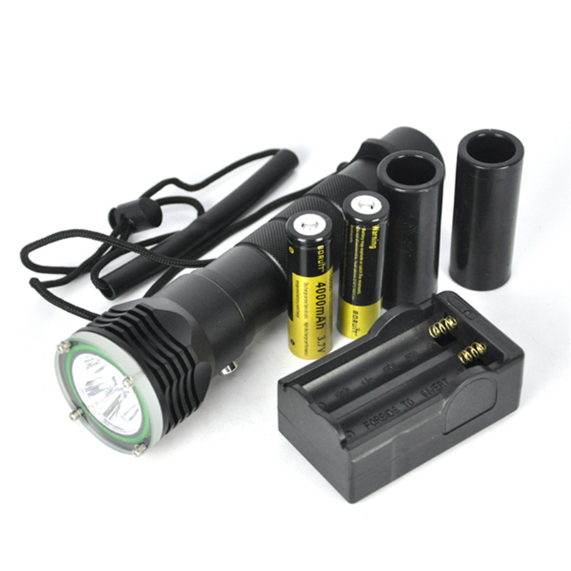 Boruit 3 XML L2 LED Diving Flashlight Underwater Waterproof Flash Light Torch Lantern With Stepless Dimming Magnetron Switch boruit 10000lm underwater 200m flashlight 5 xml l2 led scuba diving flash light torch lantern 18650 or 26650 battery